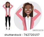 surprised shocked black african ... | Shutterstock .eps vector #762720157