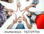 five young smiling women and... | Shutterstock . vector #762729703