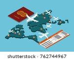 flat 3d isometric air travel... | Shutterstock .eps vector #762744967