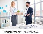 elegant boss showing new...   Shutterstock . vector #762749563