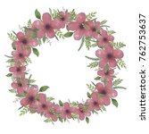 wreath made of pink watercolor... | Shutterstock . vector #762753637