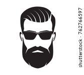 bearded man's face  hipster... | Shutterstock .eps vector #762766597
