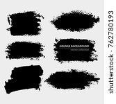 set of black grungy shapes on... | Shutterstock .eps vector #762780193