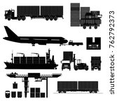 freight cargo transport icons... | Shutterstock .eps vector #762792373