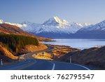 scenic winding road along lake...   Shutterstock . vector #762795547