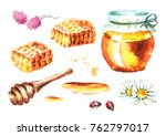 fresh honey elements set with... | Shutterstock . vector #762797017
