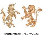 heraldic unicorn and lion... | Shutterstock .eps vector #762797023