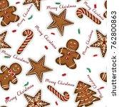 yummy christmas cookies... | Shutterstock .eps vector #762800863