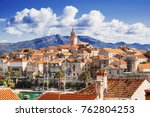 view of the korcula town ... | Shutterstock . vector #762804253