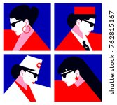 set of abstract woman portraits.... | Shutterstock .eps vector #762815167