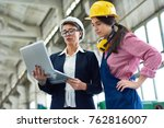pensive female building... | Shutterstock . vector #762816007