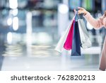 woman hand holdind shopping... | Shutterstock . vector #762820213