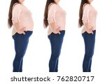 overweight woman before and... | Shutterstock . vector #762820717