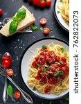 spaghetti pasta meatballs with...   Shutterstock . vector #762822073