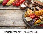 grilled vegetable on brown... | Shutterstock . vector #762891037