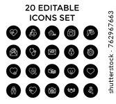 set of 20 heart outline icons... | Shutterstock .eps vector #762967663