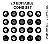 set of 20 character filled and... | Shutterstock .eps vector #762968503