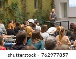male speaker giving... | Shutterstock . vector #762977857