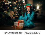 cheerful girl finding a pile of ... | Shutterstock . vector #762983377