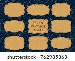 set of 9 leather labels on a... | Shutterstock .eps vector #762985363