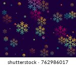 trendy colors snow flakes... | Shutterstock . vector #762986017