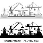 sea cargo port  container ship... | Shutterstock .eps vector #762987553