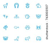 set of 16 editable zoo outline...