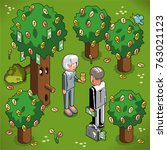 businesspeople harvesting money ...   Shutterstock .eps vector #763021123
