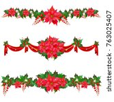 christmas garland with... | Shutterstock . vector #763025407