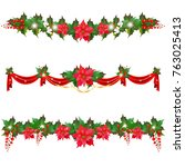 christmas garland with... | Shutterstock . vector #763025413