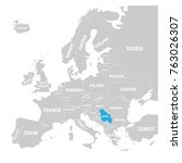 serbia marked by blue in grey... | Shutterstock .eps vector #763026307