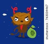 cool simple devil cartoon  ... | Shutterstock .eps vector #763034467