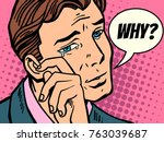 why man wipes tears. comic book ... | Shutterstock .eps vector #763039687