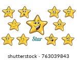 gold star emotions emoticons... | Shutterstock .eps vector #763039843