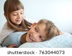 cute kids  brother with sister ... | Shutterstock . vector #763044073