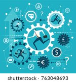 business background with gears... | Shutterstock .eps vector #763048693