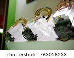 cryptocurrency mining equipment ... | Shutterstock . vector #763058233