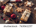 christmas gift  decorated... | Shutterstock . vector #763061257