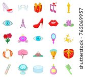charm icons set. cartoon set of ... | Shutterstock .eps vector #763069957