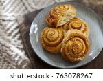 danish pastries with cinnamon | Shutterstock . vector #763078267