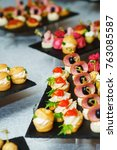 catering during events. banquet ... | Shutterstock . vector #763085587