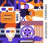 vector cinema or movie festival ... | Shutterstock .eps vector #763089463