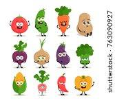 funny cartoon characters. cute... | Shutterstock .eps vector #763090927