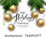 holidays greeting card for... | Shutterstock .eps vector #763091977