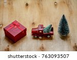 red christmas toy car  ... | Shutterstock . vector #763093507