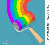 flat design raibow roller brush ... | Shutterstock .eps vector #763094767