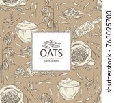 background with oats  plate and ...   Shutterstock .eps vector #763095703