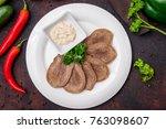 sliced beef tongue | Shutterstock . vector #763098607