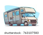 recreation vehicle cartoon... | Shutterstock .eps vector #763107583