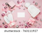 warm winter clothes and... | Shutterstock . vector #763111927